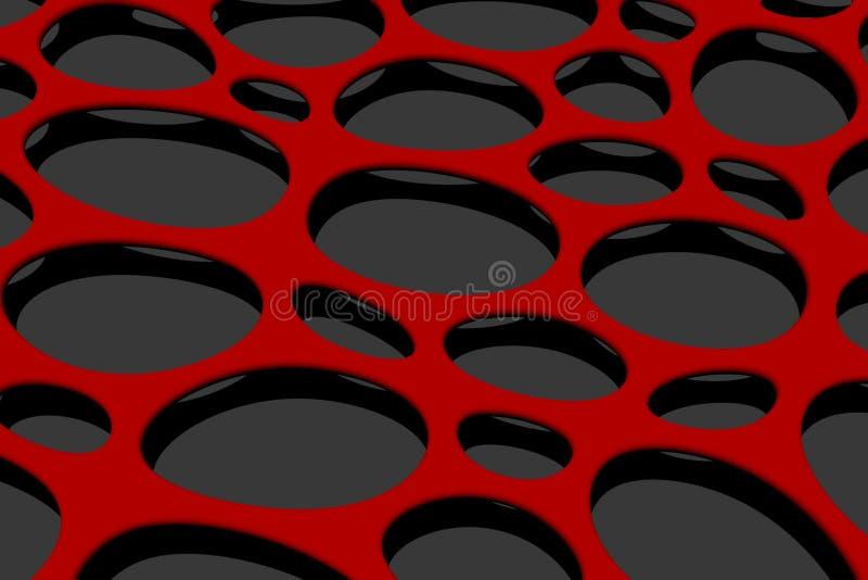 Κόκκινος τρισδιάστατος υποβάθρου κύκλων και τρυπών δίνει στοκ εικόνες