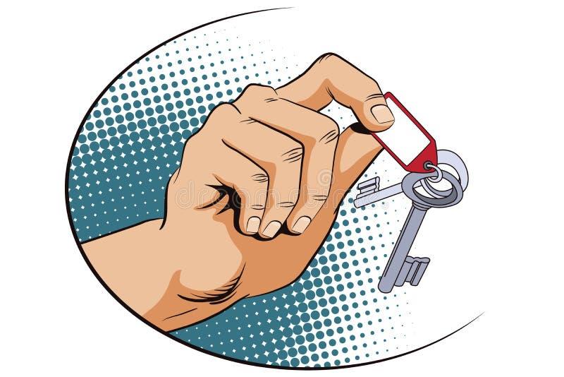 κόκκινος τρύγος ύφους κρίνων απεικόνισης Αρσενικό χέρι με τα κλειδιά ελεύθερη απεικόνιση δικαιώματος
