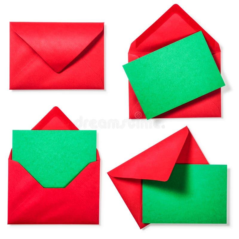 Κόκκινος φάκελος με την πράσινη κάρτα στοκ εικόνες
