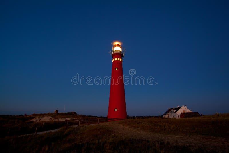 Κόκκινος φάρος στη νύχτα στοκ φωτογραφίες με δικαίωμα ελεύθερης χρήσης