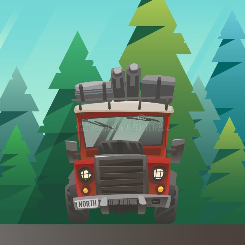 Κόκκινος φορτωμένος γύρος φορτηγών μέσω του θερινού δάσους απεικόνιση αποθεμάτων