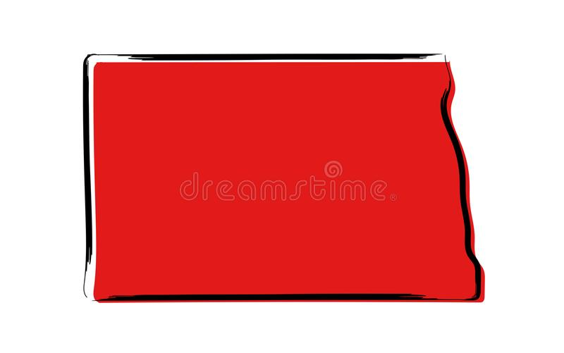 Κόκκινος χάρτης σκίτσων της βόρειας Ντακότας διανυσματική απεικόνιση