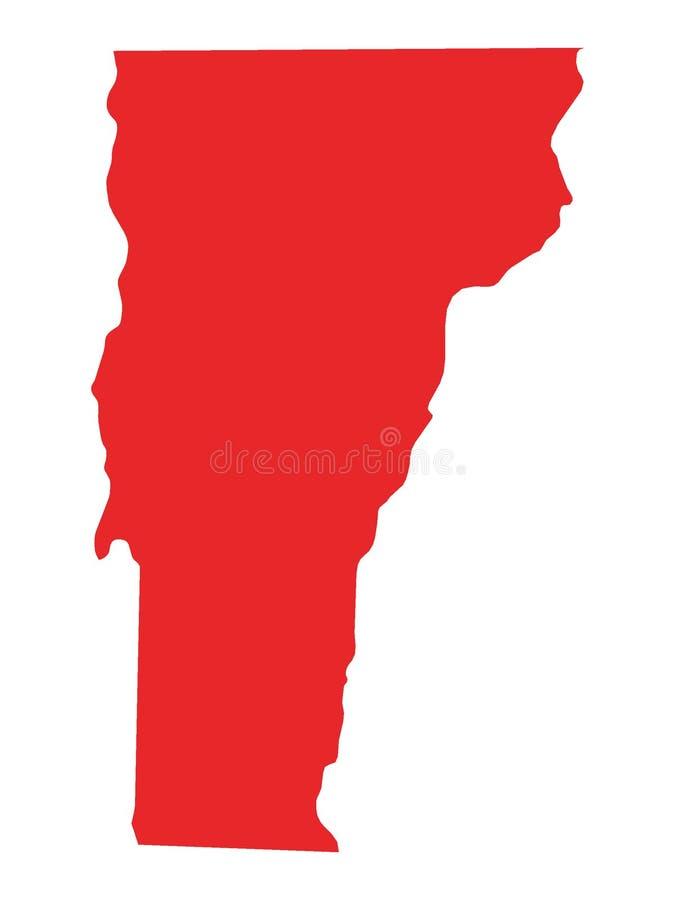 Κόκκινος χάρτης του αμερικανικού κράτους του Βερμόντ ελεύθερη απεικόνιση δικαιώματος