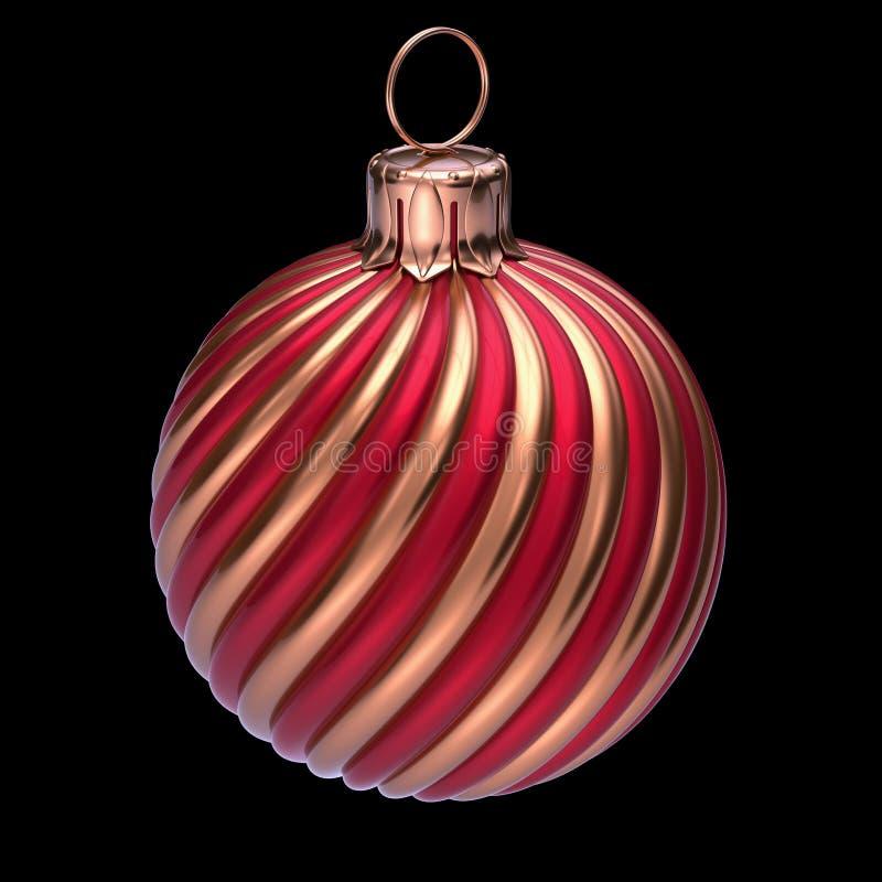 Κόκκινος χρυσός κινηματογραφήσεων σε πρώτο πλάνο διακοσμήσεων σφαιρών Χριστουγέννων Παραμονής Πρωτοχρονιάς στοκ εικόνες