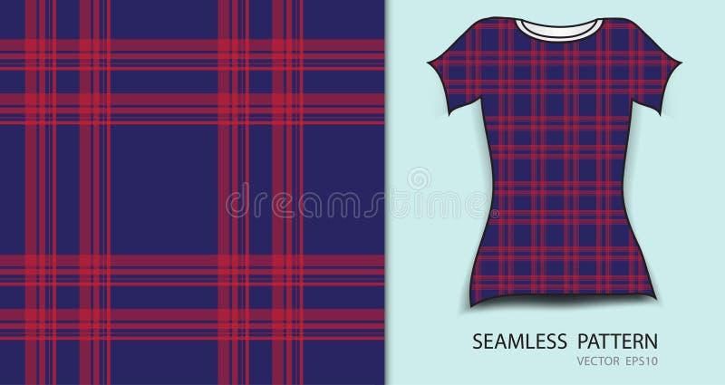Κόκκινου και μπλε καρό ταρτάν άνευ ραφής σχέδιο σχεδίου μπλουζών, ελεύθερη απεικόνιση δικαιώματος