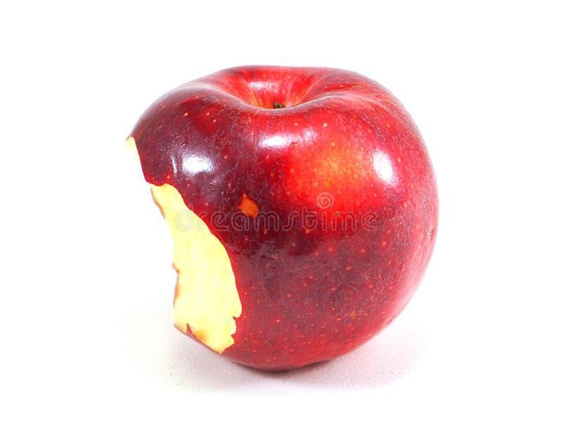 Κόκκινο δάγκωμα μήλων στο άσπρο υπόβαθρο στοκ εικόνα