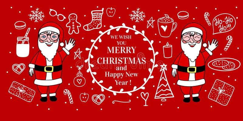 Κόκκινο άνετο χέρι εμβλημάτων που σύρεται Πλήρες μήκος Άγιου Βασίλη Διανυσματική καθορισμένη διάθεση Χαρούμενα Χριστούγεννας έννο διανυσματική απεικόνιση