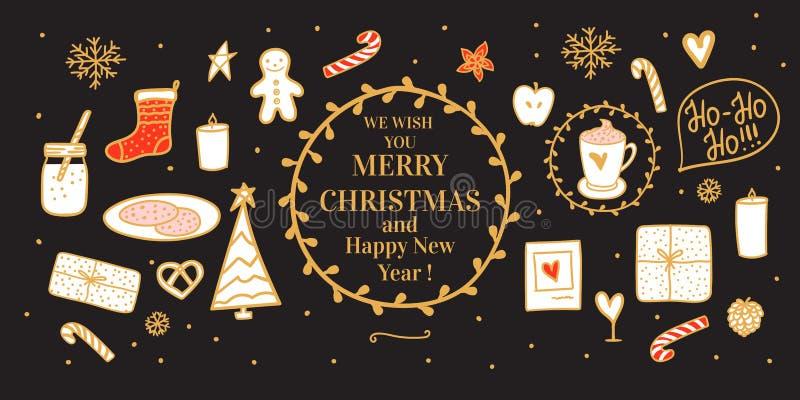 Κόκκινο άνετο χρυσό χέρι εμβλημάτων που σύρεται Κακάο και μπισκότα γάλακτος για Santa Διανυσματική καθορισμένη διάθεση Χαρούμενα  ελεύθερη απεικόνιση δικαιώματος