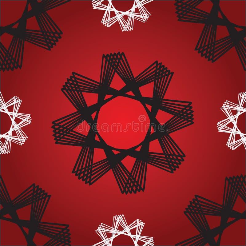Κόκκινο άνευ ραφής σχέδιο αστεριών οκταγώνων απεικόνιση αποθεμάτων