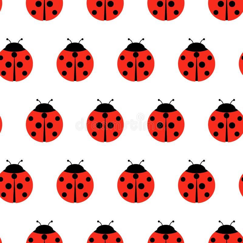 Κόκκινο άνευ ραφής σχέδιο Ladybugs και κινούμενων σχεδίων γραμμών που απομονώνεται σε ένα άσπρο υπόβαθρο ελεύθερη απεικόνιση δικαιώματος