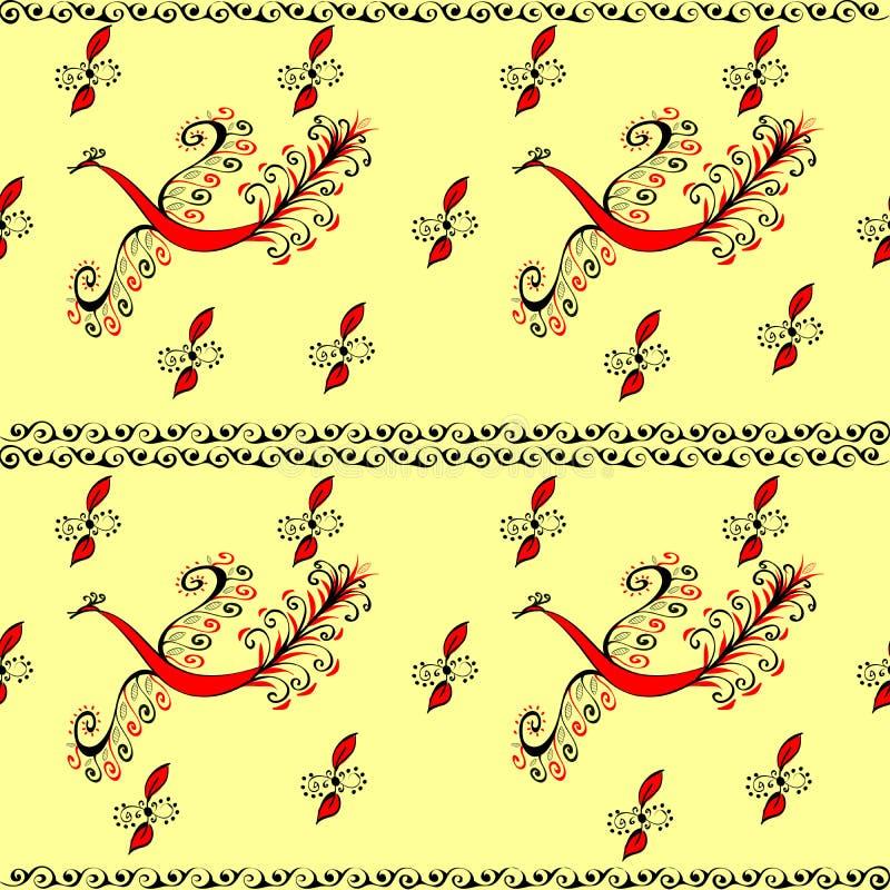 Κόκκινο άνευ ραφής σχέδιο νεράιδων πουλιών πυρκαγιάς peacock διανυσματική απεικόνιση