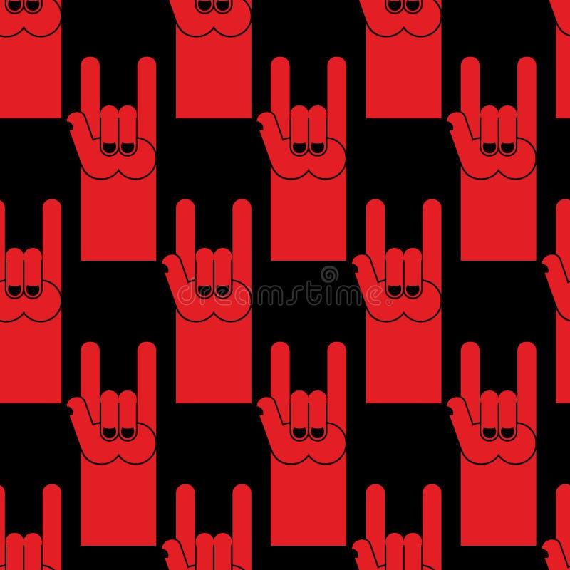 Κόκκινο άνευ ραφής σχέδιο σημαδιών χεριών βράχου Υπόβαθρο του συμβόλου του ro ελεύθερη απεικόνιση δικαιώματος