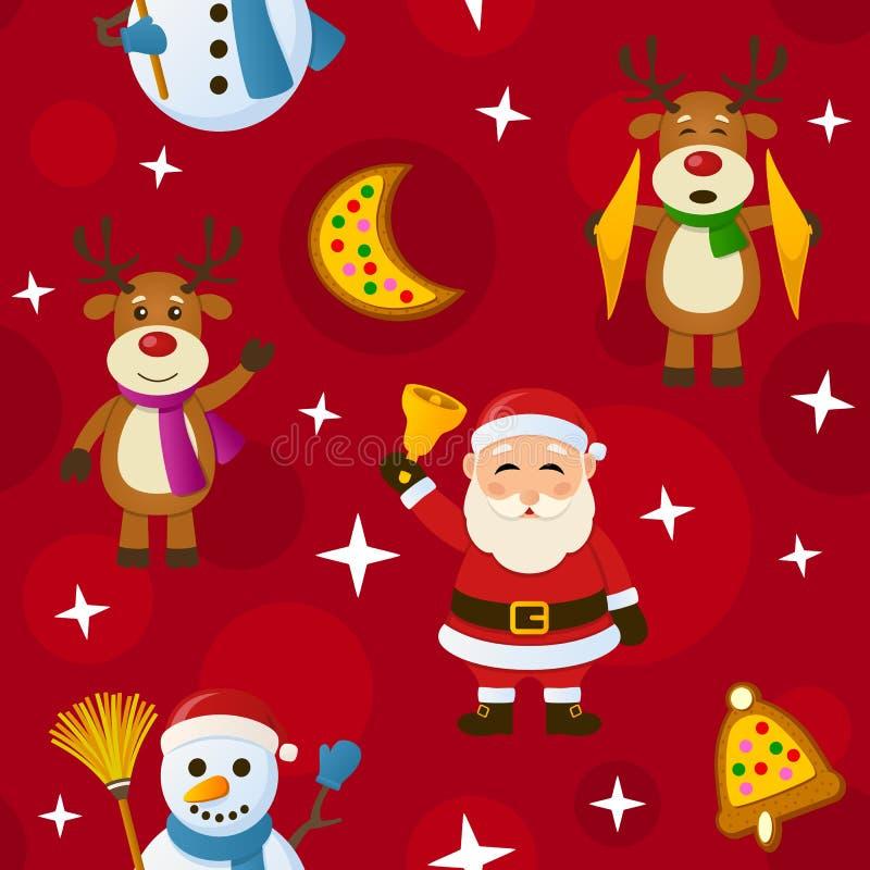Κόκκινο άνευ ραφής σχέδιο Χριστουγέννων διανυσματική απεικόνιση