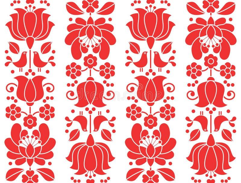 Κόκκινο άνευ ραφής patternn emrboidery Kalocsai - floral λαϊκό υπόβαθρο τέχνης απεικόνιση αποθεμάτων