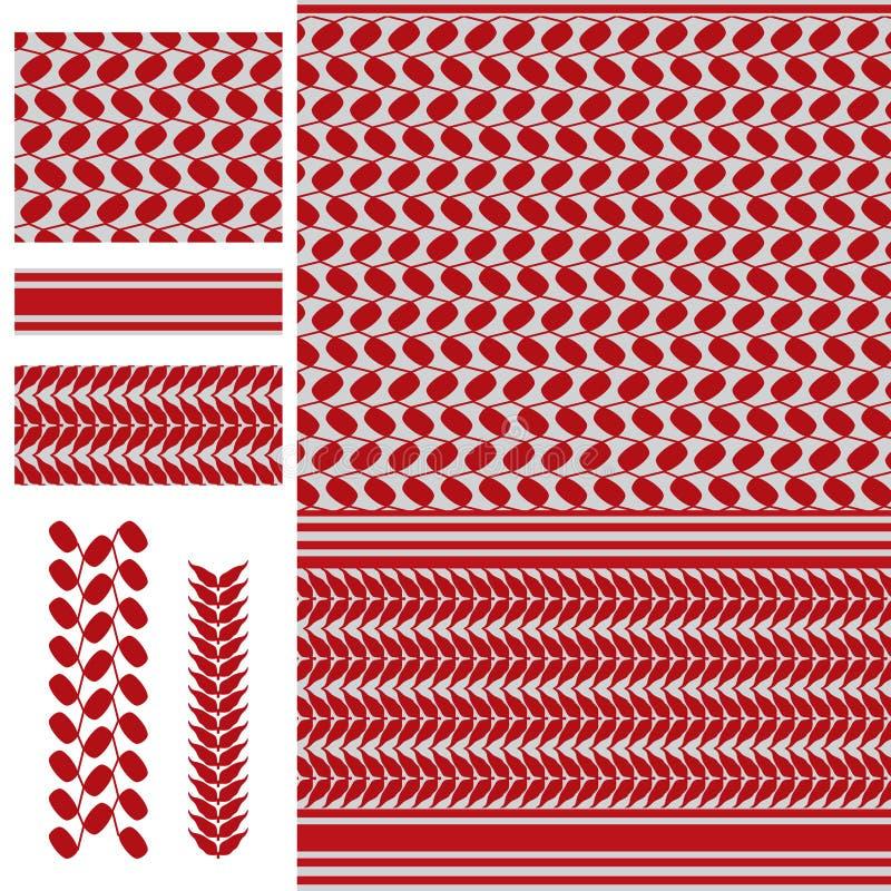 Κόκκινο άσπρο άνευ ραφής σχέδιο της Παλαιστίνης Keffieh απεικόνιση αποθεμάτων