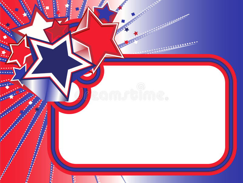Κόκκινο, άσπρο και μπλε έμβλημα αστεριών διανυσματική απεικόνιση