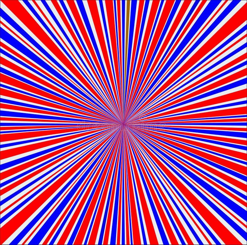 Κόκκινο άσπρο και μπλε υπόβαθρο ακτίνων διανυσματική απεικόνιση