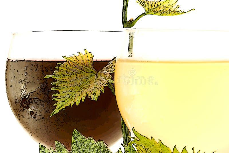 κόκκινο άσπρο κρασί γυαλ&i στοκ φωτογραφία