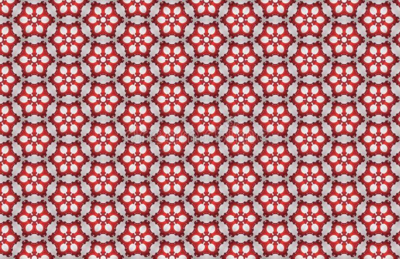 Κόκκινο άσπρο Hexagon αφηρημένο μεγάλο σχέδιο σχεδίων ελεύθερη απεικόνιση δικαιώματος