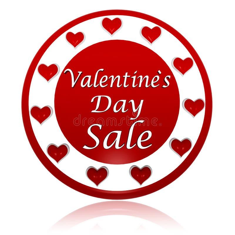 Κόκκινο έμβλημα κύκλων πώλησης ημέρας βαλεντίνων με τα σύμβολα καρδιών διανυσματική απεικόνιση