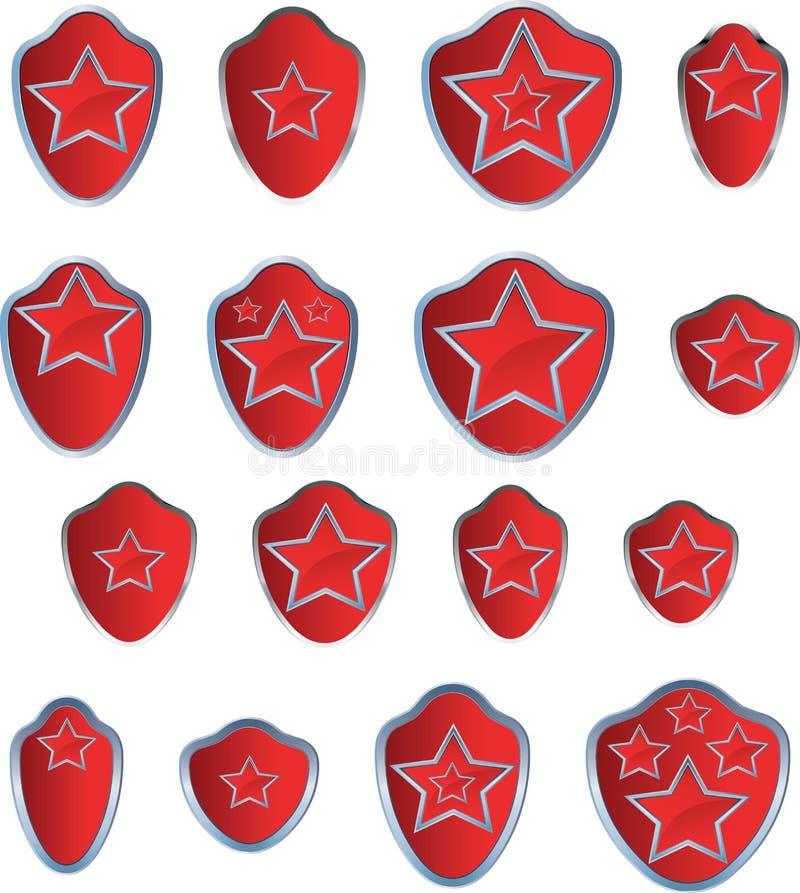 Κόκκινο έμβλημα αστεριών διανυσματική απεικόνιση