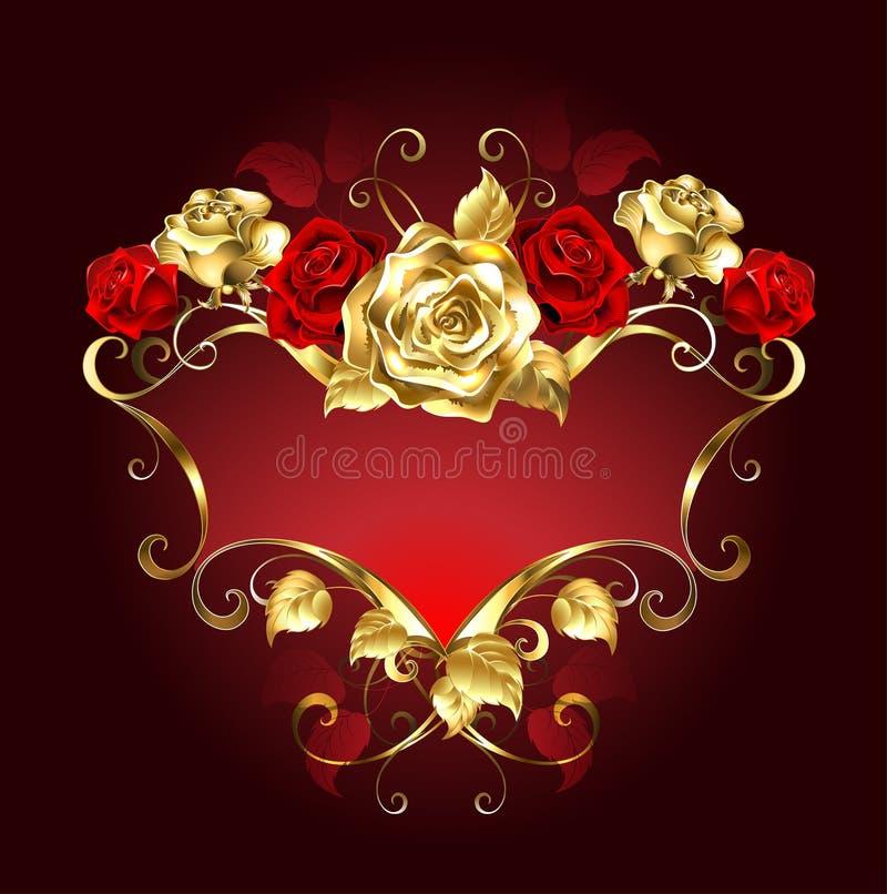 Κόκκινο έμβλημα με τα τριαντάφυλλα διανυσματική απεικόνιση