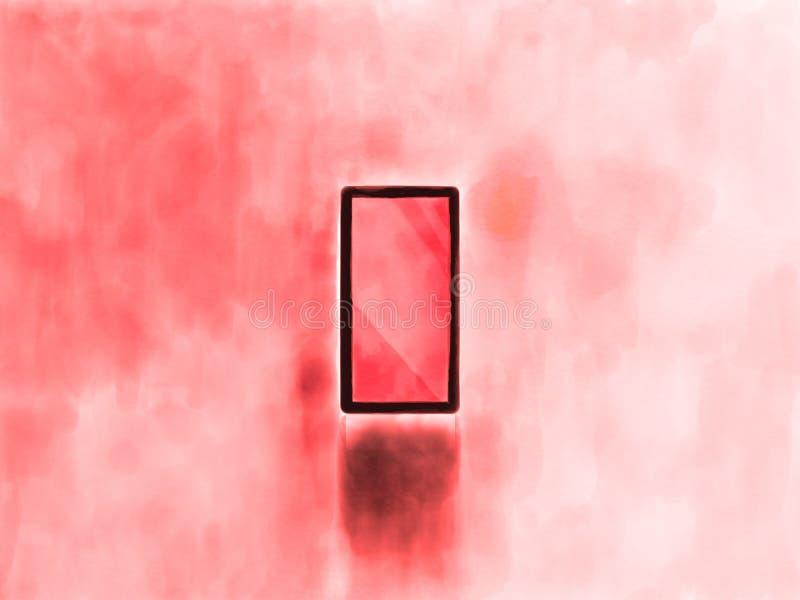 Κόκκινο έξυπνο τηλέφωνο με το απομονωμένο κόκκινο υπόβαθρο τόνου Κινητό τηλέφωνο σχεδίου τέχνης διανυσματική απεικόνιση