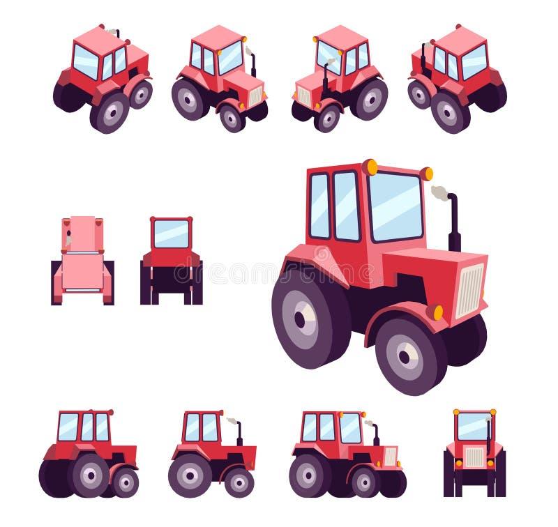Κόκκινο αγροτικό τρακτέρ, από τις διαφορετικές γωνίες Διάνυσμα προτύπων οχημάτων που απομονώνεται στο λευκό Μέτωπο άποψης, οπίσθι διανυσματική απεικόνιση