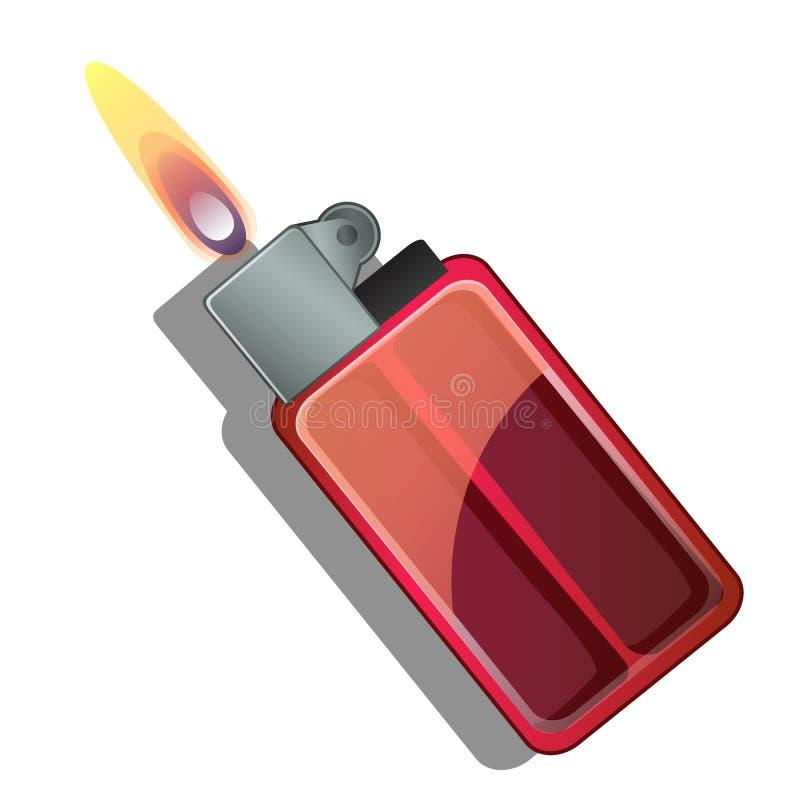Κόκκινο αεριόφως με τη φλόγα Διανυσματική απεικόνιση στο ύφος κινούμενων σχεδίων που απομονώνεται στο λευκό ελεύθερη απεικόνιση δικαιώματος