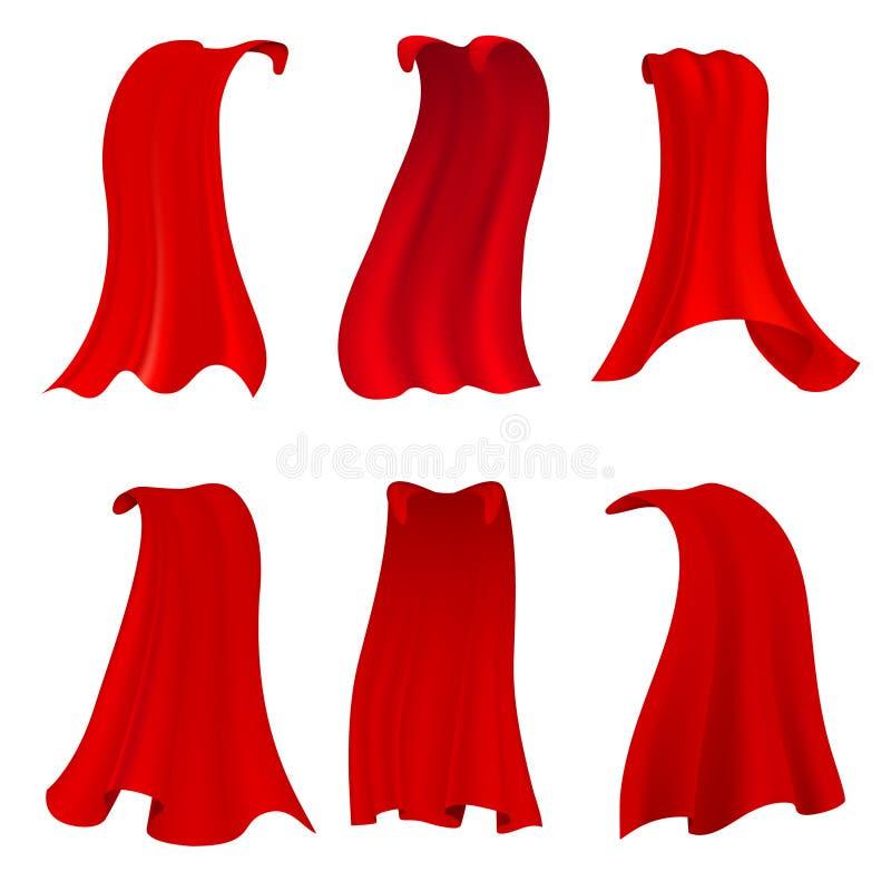 Κόκκινο ακρωτήριο ηρώων Ρεαλιστικός ερυθρός επενδύτης υφάσματος ή μαγική κάλυψη βαμπίρ Διανυσματικό σύνολο που απομονώνεται στο δ διανυσματική απεικόνιση