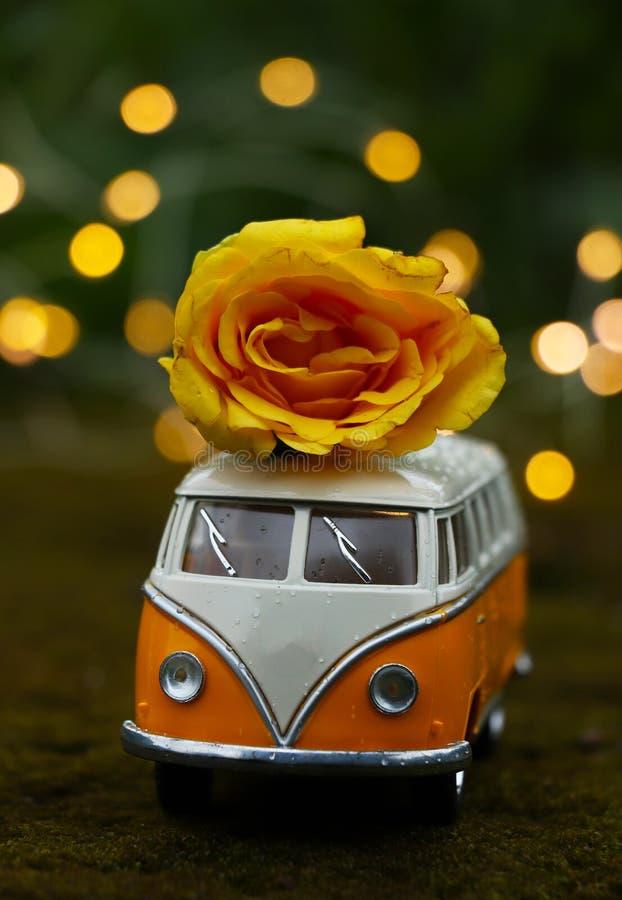 Κόκκινο αναδρομικό αυτοκίνητο παιχνιδιών με το κόκκινο ροδαλό λουλούδι στο φυσικό υπόβαθρο Λουλούδια, έννοια παράδοσης δώρων στοκ φωτογραφία με δικαίωμα ελεύθερης χρήσης