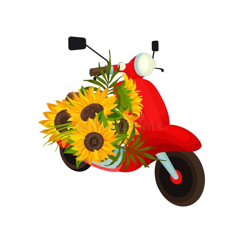 Κόκκινο αναδρομικό μοτοποδήλατο με τους ηλίανθους E ελεύθερη απεικόνιση δικαιώματος