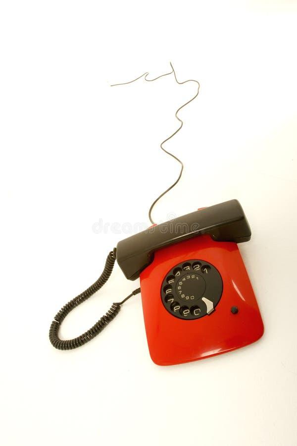 κόκκινο αναδρομικό τηλέφωνο στοκ φωτογραφίες