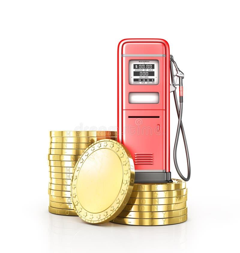 Κόκκινο αναδρομικό stsation αερίου με έναν σωρό των νομισμάτων διανυσματική απεικόνιση
