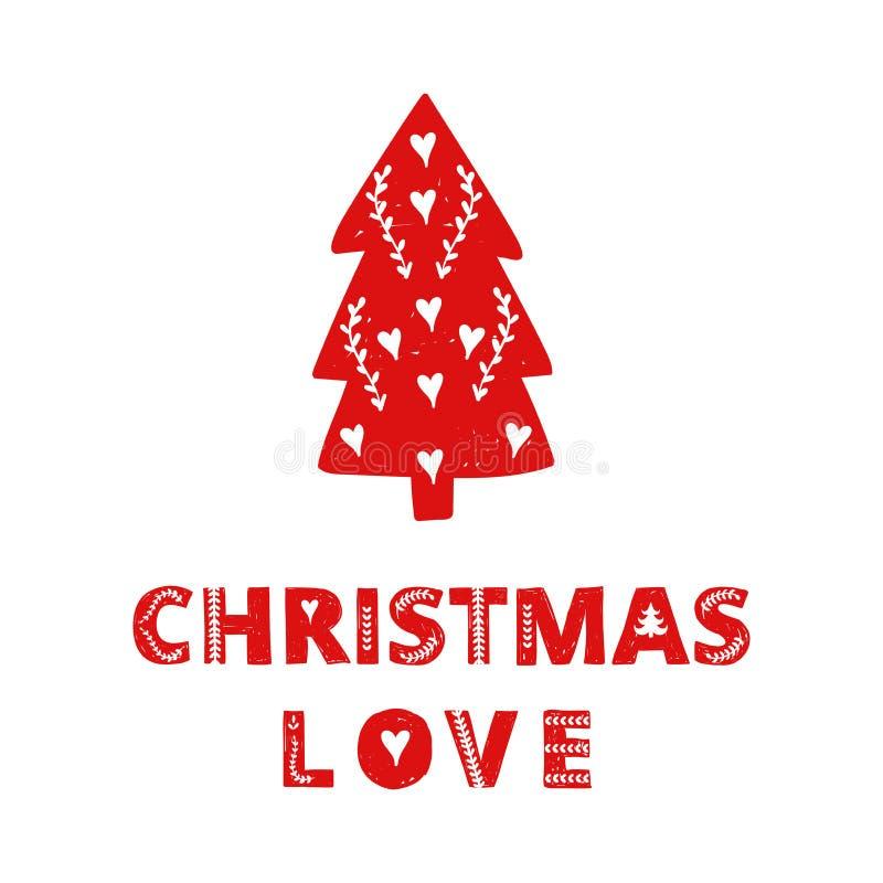 Κόκκινο απλό Σκανδιναβικό σκανδιναβικό ύφος χριστουγεννιάτικων δέντρων Χριστούγεννα, νέα κάρτα πρόσκλησης έτους Συρμένη χέρι ετικ διανυσματική απεικόνιση