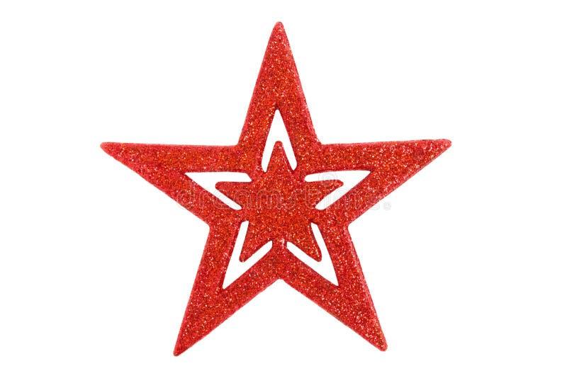 Κόκκινο αστέρι διακοσμήσεων Χριστουγέννων κρεμώντας στο άσπρο υπόβαθρο με το γ στοκ φωτογραφίες