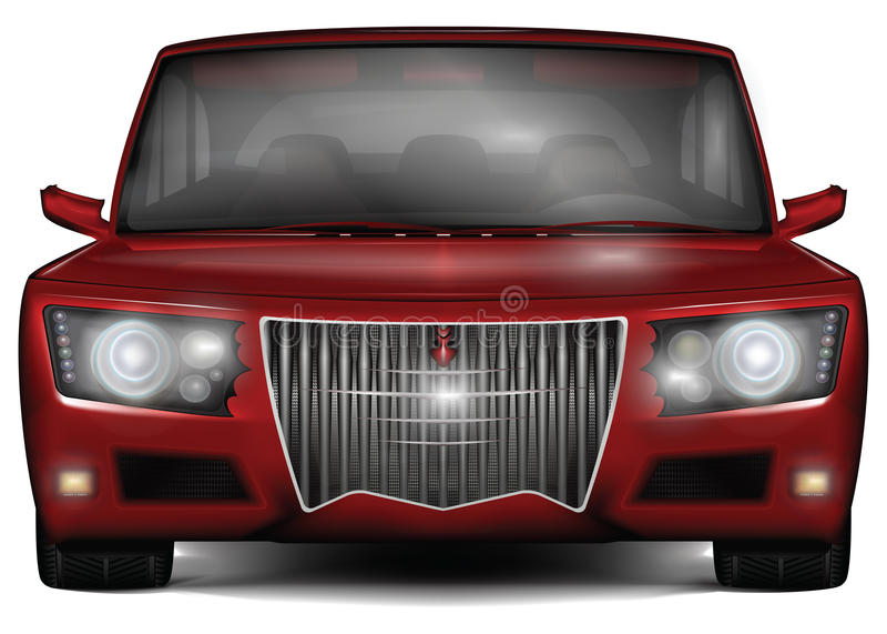 Κόκκινο αυτοκίνητο έννοιας Κανένα εμπορικό σήμα Στην άσπρη ανασκόπηση στοκ φωτογραφία