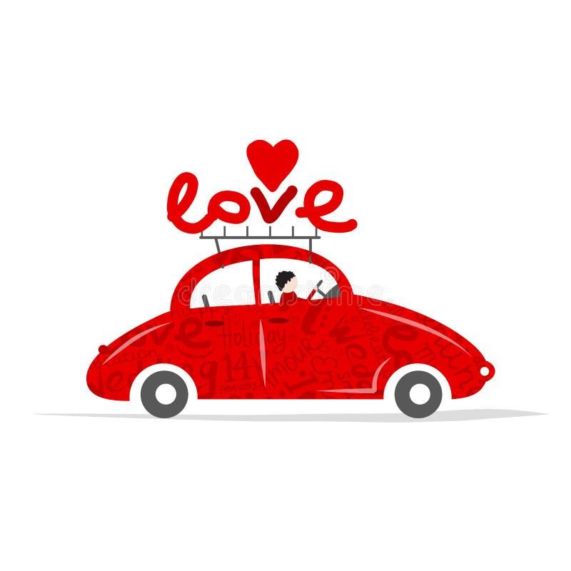 Κόκκινο αυτοκίνητο αγάπης για το σχέδιό σας διανυσματική απεικόνιση