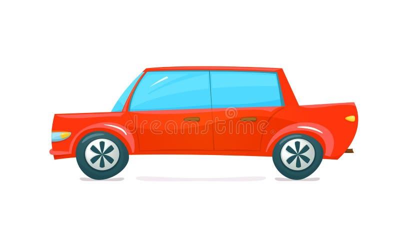 Κόκκινο αυτοκίνητο, διανυσματική απεικόνιση απεικόνιση αποθεμάτων