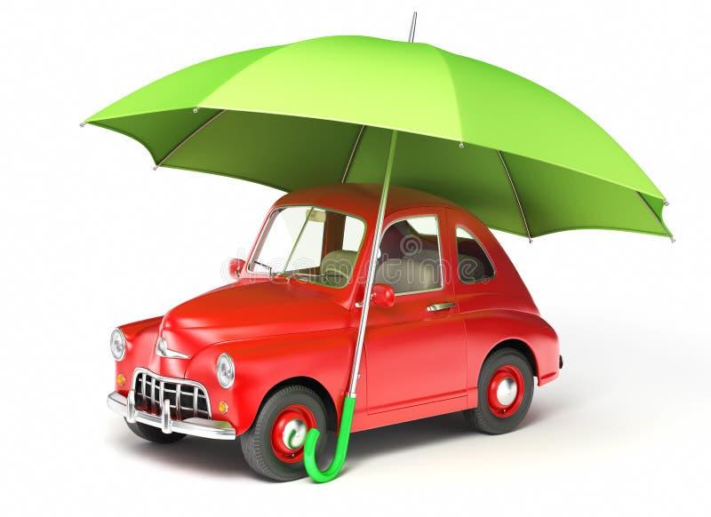 Κόκκινο αυτοκίνητο κάτω από την ομπρέλα ελεύθερη απεικόνιση δικαιώματος
