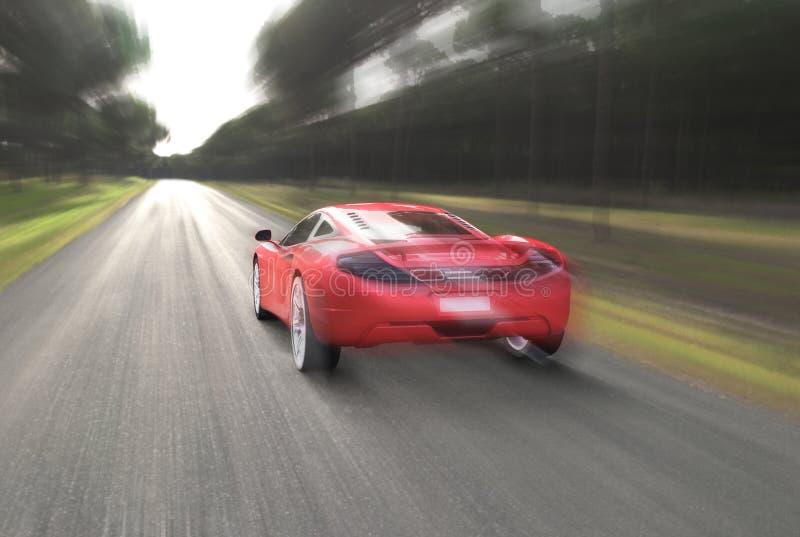Κόκκινο αυτοκίνητο και ταχύτητα στοκ φωτογραφίες