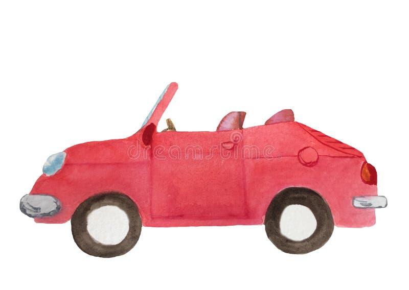 Κόκκινο αυτοκίνητο καμπριολέ watercolor πνιξίματος χεριών διανυσματική απεικόνιση