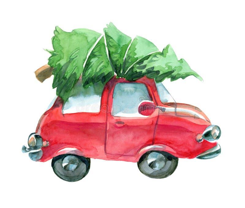 Κόκκινο αυτοκίνητο με το πράσινο χριστουγεννιάτικο δέντρο στην κορυφή διανυσματική απεικόνιση