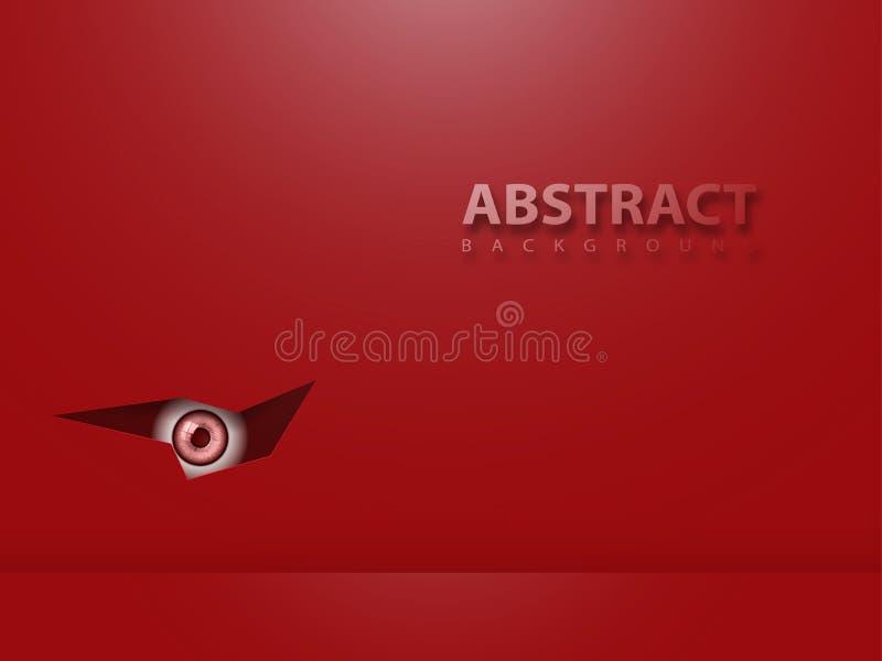 Κόκκινο αφηρημένο σύγχρονο υπόβαθρο Το μάτι κοιτάζει από το σκοτάδι διανυσματική απεικόνιση