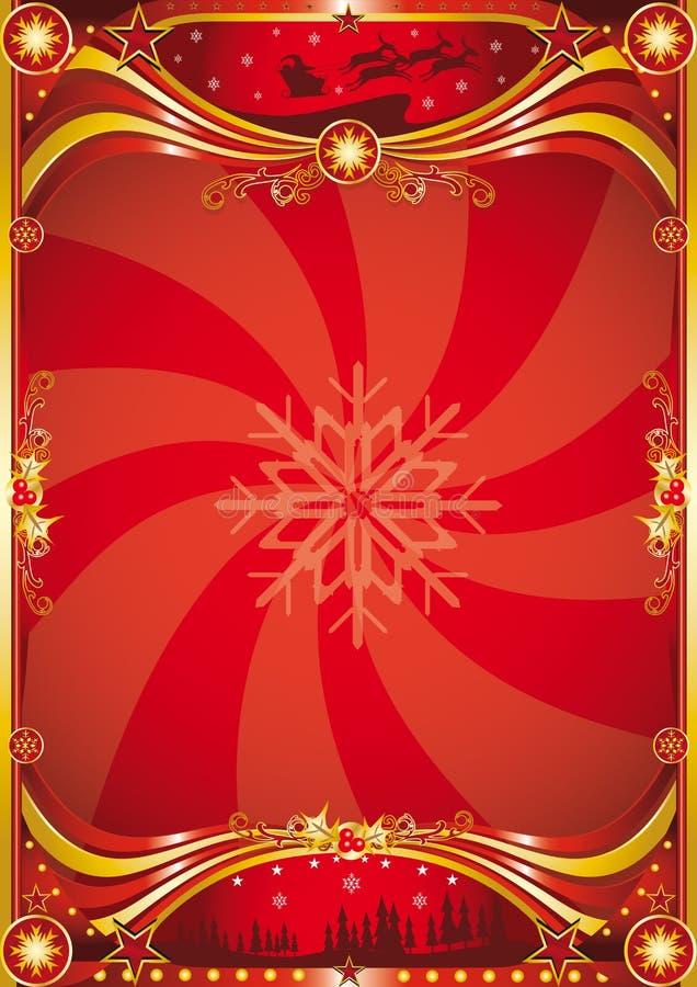 κόκκινο αφισών Χριστουγέ&nu ελεύθερη απεικόνιση δικαιώματος