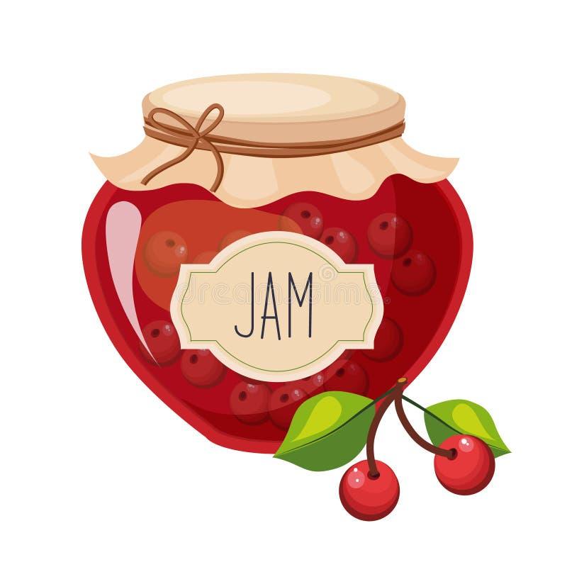 Κόκκινο βάζο γυαλιού μαρμελάδας γλυκών κερασιών που γεμίζουν με το μούρο με την απεικόνιση ετικετών προτύπων απεικόνιση αποθεμάτων