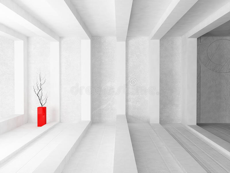 Κόκκινο βάζο με τους κλάδους απεικόνιση αποθεμάτων