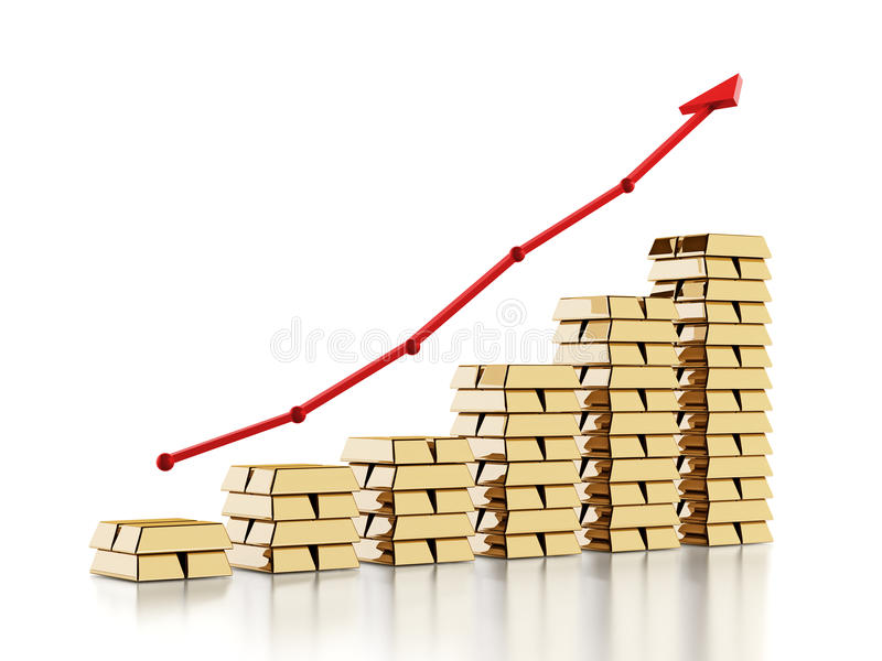 Κόκκινο βέλος επάνω από τα χρυσά πλινθώματα Αυξανόμενη έννοια τιμών χρυσού τρισδιάστατη απεικόνιση απεικόνιση αποθεμάτων