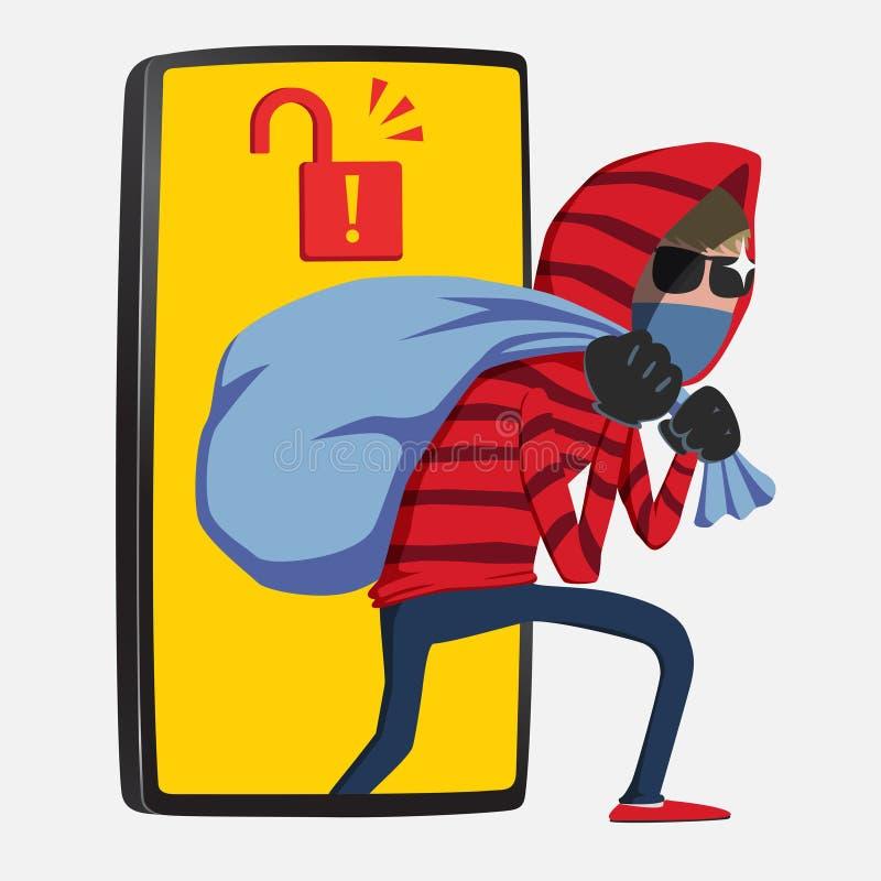Κόκκινο βήμα χάκερ κουκουλών από το smartphone διανυσματική απεικόνιση