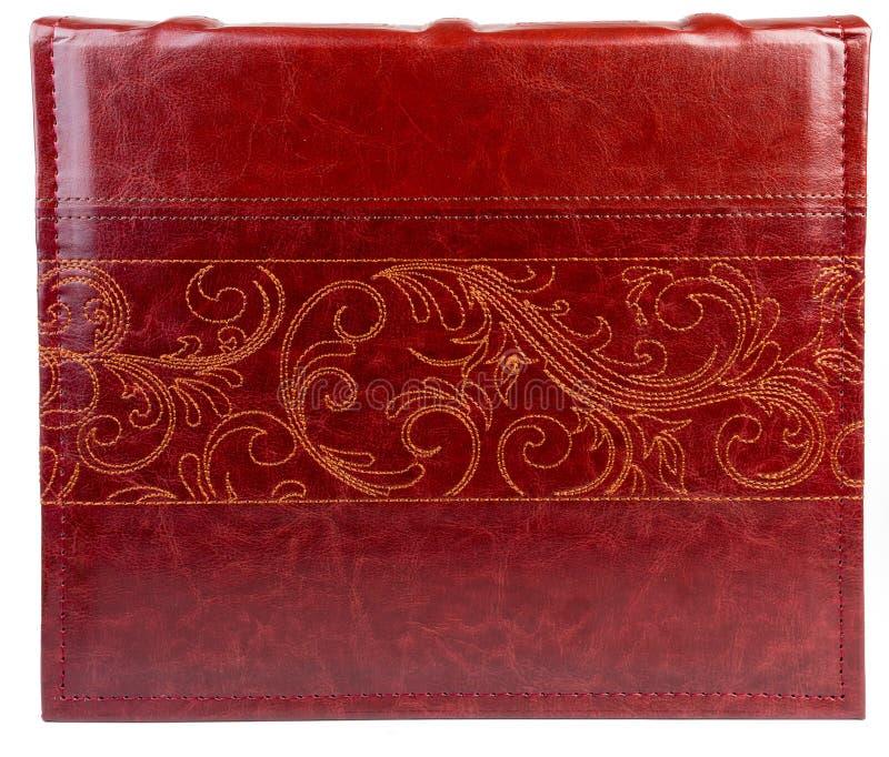 Κόκκινο βιβλίο δέρματος στο wite backround στοκ εικόνα